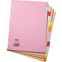 Elba A4 Card Dividers 12 Part Assorted