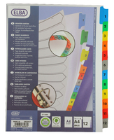 Elba A4plus Mylar Multi Col Index 1-12