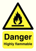 Danger Highly Flammable A5 PVC HA13051R